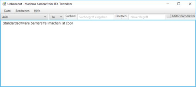 So sieht Marlems barrierefreier JFX-Textedior aus