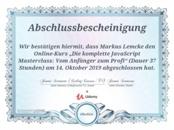 Abschlussbescheinigung dass Markus Lemcke einen Onlinekurs belegt hat mit dem Titel: Die komplette Javascript Masterclass