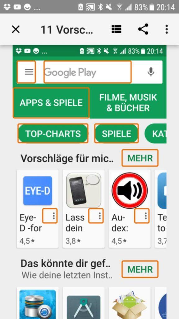 """Google Play nach dem er von der App """"Accessibility Scanner"""" auf Barrierefreiheit überprüft wurde"""