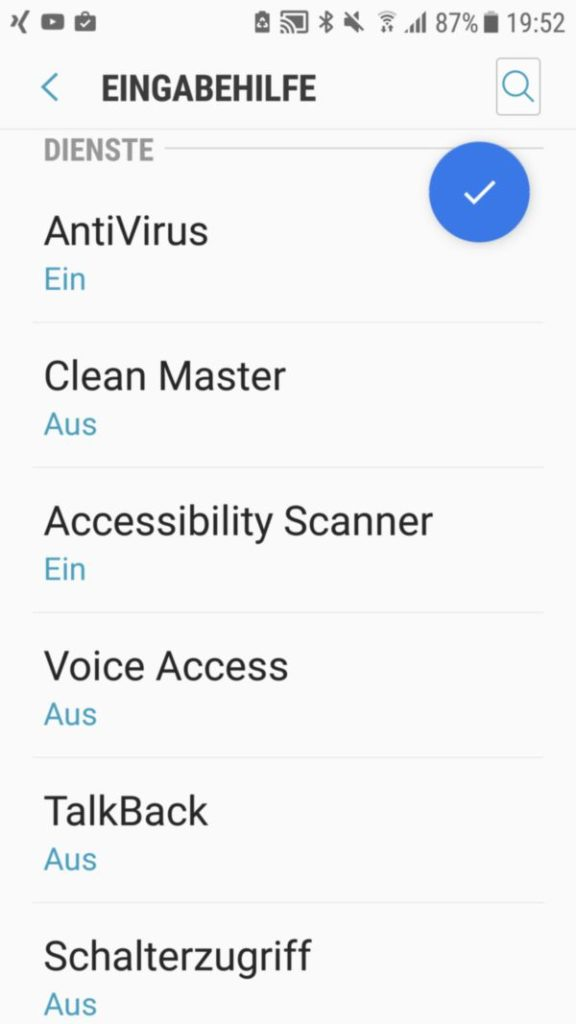 """Aktivieren der App """"Accessibility Scanner"""" bei Android 7"""