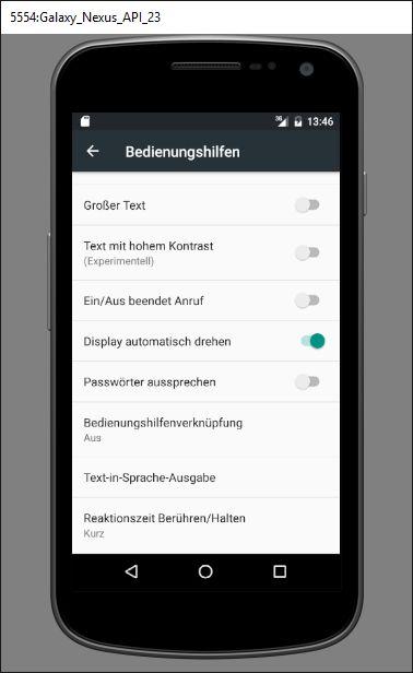 Bedienungshilfen für Behinderte bei Android 6