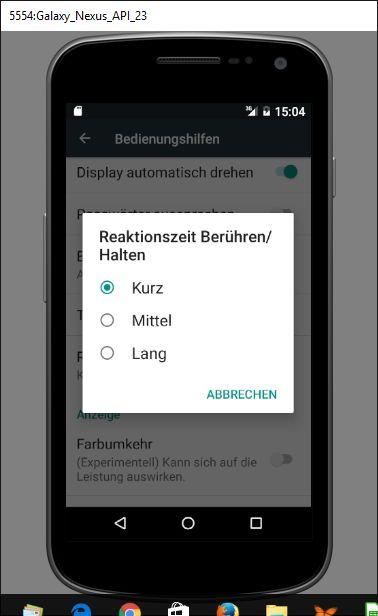 Android 6 - Bedienungshilfen Reaktionszeit / Berühren halten