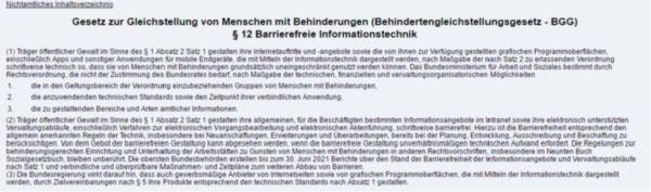 Bild von § 12 Barrierefreie Informationstechnik - Behindertengleichstellungsgesetz ( BGG )