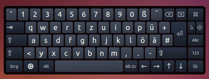 Bildschirmtastatur vom Betriebssystem Linux - Ubuntu