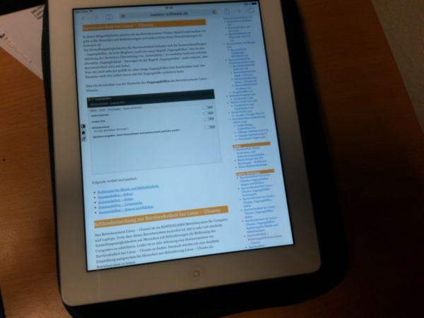 Der Blog von Marlem-Software angezeigt auf einem Ipad