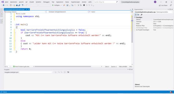 C++ Code in der Entwicklungsumgebung Visual Studio