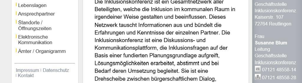 """Webseite Landratsamt Reutlingen/Inklusionskonferenz. Der Farbkontrast auf der rechten Seite beim Text """"Geschäftsstelle Inklusionskonferenz ..."""" zwischen Hintergrund-und Schriftfarbe ist nicht barrierefrei für Menschen mit Farbfehlsichtigkeit"""