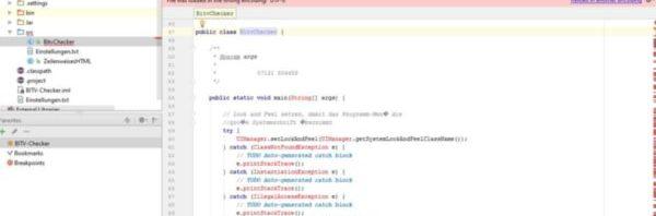 Das Bild zeigt die Ansicht der Entwicklungsumgebung IntelliJ IDEA.