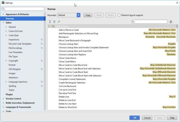 Das Bild zeigt wie in der Entwicklungsumgebung IntelliJ IDEA die Tastenkombinationen angepasst werden können.