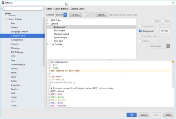 Das Bild zeigt wie in der Entwicklungsumgebung IntelliJ IDEA die Farben angepasst werden können.