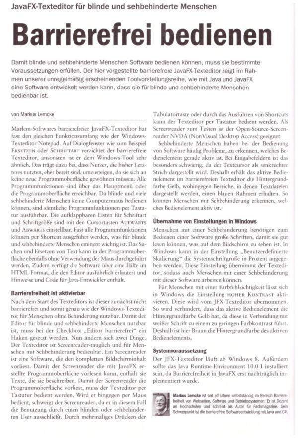 Artikel im Javamagazin von Markus Lemcke über den JavaFX-Texteditor der für blinde und sehbehinderte Menschen bedienbar ist