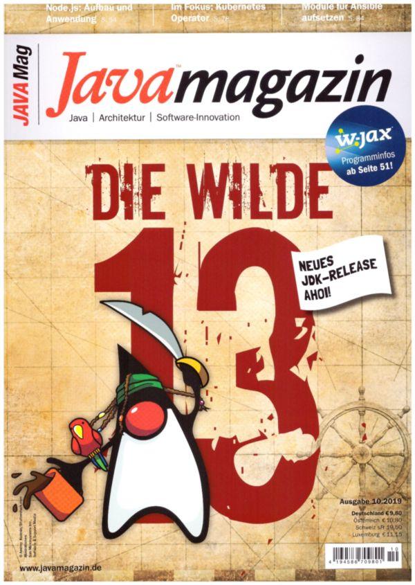 Titelseite der IT-Zeitschrift Javamagazin Ausgabe 10 im Jahr 2019