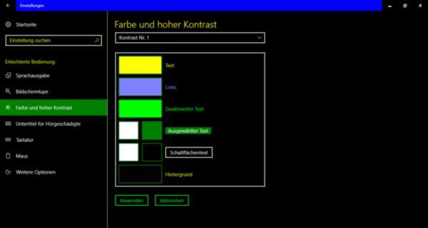 Kontrast Nummer 1 bei Windows 10 hilft Menschen mit Sehbehinderung und Farbenfehlsichtigkeit