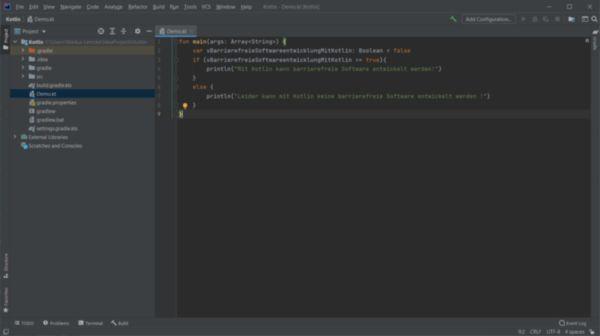 Die Programmiersprache Kotlin in der Entwicklungsumgebung IntelliJ IDEA Community Edition