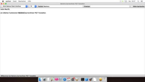 Marlems barrierefreier PQT-Texteditor im Betriebssystem MacOS