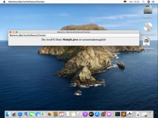 Die Software MarlemsBarriereSoftwareChecker hat in MacOS 10.15 eine JavaFX-Datei auf Screenreadertauglichkeit überprüft
