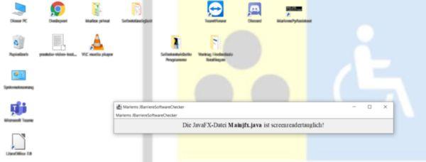Die Software MarlemsBarriereSoftwareChecker hat in Windows 10 eine JavaFX-Datei auf Screenreadertauglichkeit überprüft