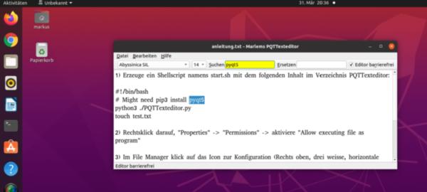 Ein Texteditor entwickelt mit der Programmiersprache Python. Eine Textdatei ist geöffnet und es wird der Begriff pyqt5 gesucht. Betriebssystem Ubuntu.