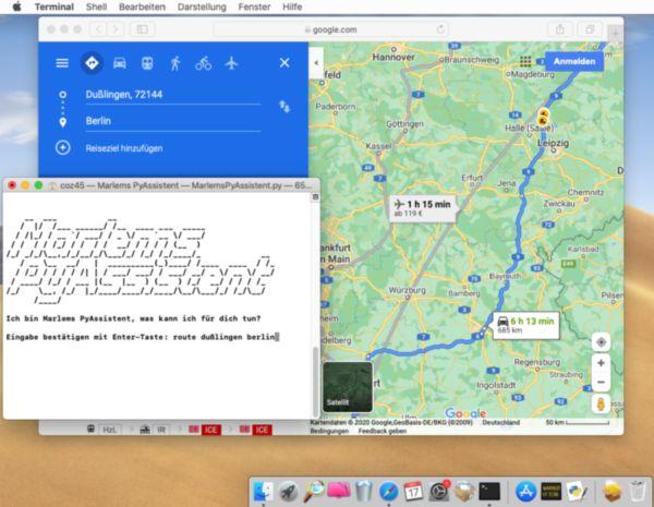 Marlems PyAssitent zeigt die Route von Dußlingen nach Berlin in Google Maps