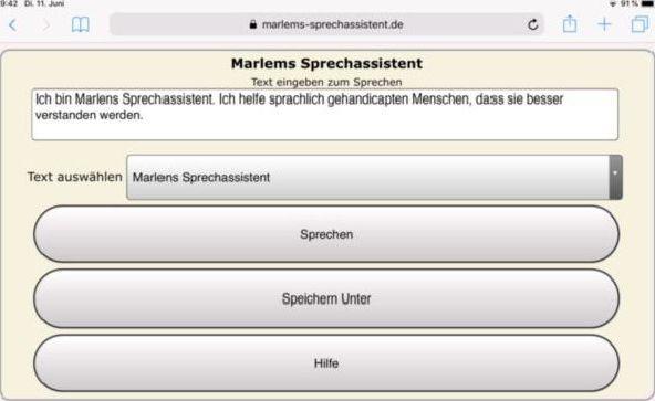 So sieht die Web App Marlems Sprechassistent auf einem Ipad aus