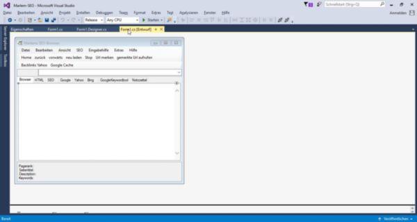 Ansicht Visual Studio 2015 mit geöffneten Projekt
