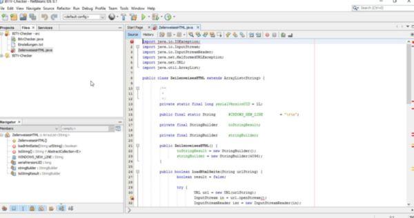 Ansicht der Entwicklungsumgebung NetBeans