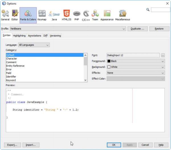 Schriften und Farben ändern in der Entwicklungsumgebung NetBeans