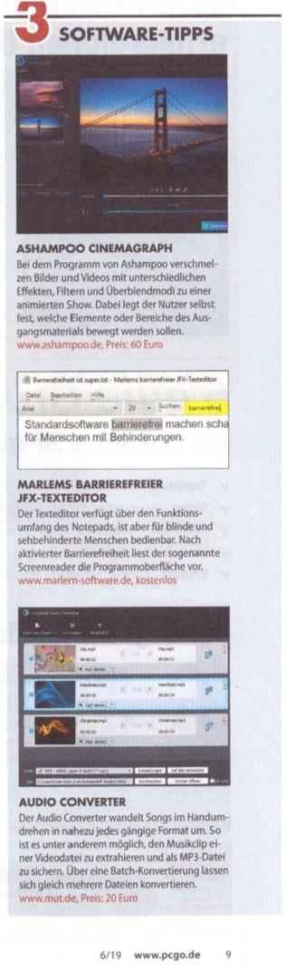 Auf dem Bild werden 3 Programme vorgestellt, u. a. Marlems barrierefreier JFX-Texteditor