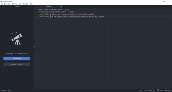 PHP-Code in der Entwicklungsumgebung Atom