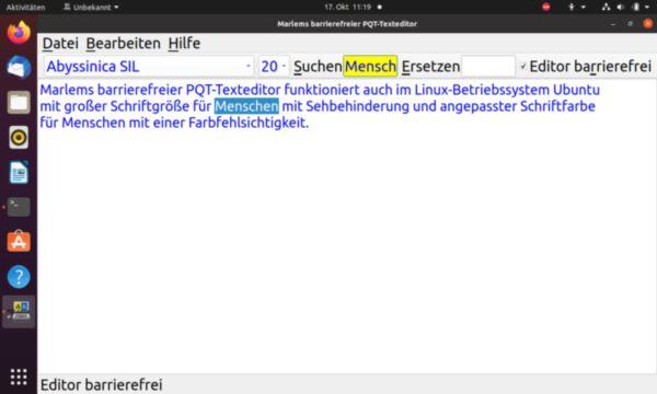 Marlems barrierefreier PQT-Texteditor im Betriebssystem Ubuntu mit großer Schrift und angepaßter Schriftfarbe