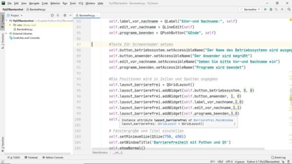 Pythoncode mit Eigenschaften zur Barrierefreiheit in der Entwicklungsumgebung Python
