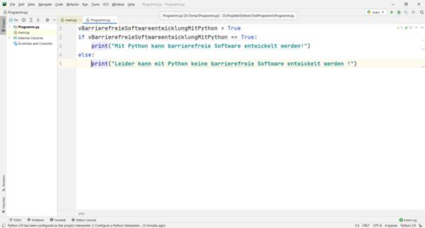 Python-Code in der Entwicklungsumgebung PyCharm