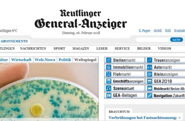 Auf dem Bild ist die Startseite zu sehen des Reutlinger Genral Anzeigers