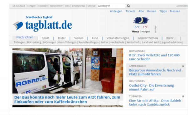So sieht die Startseite des schwäbisches Tagblatts aus