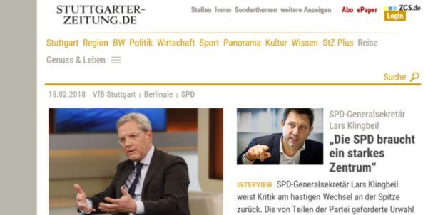 Startseite der Stuttgarter Zeitung