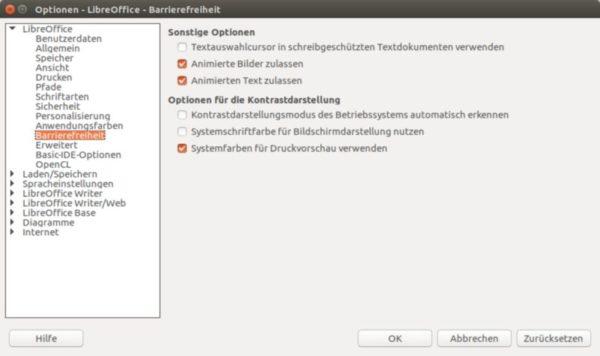 Barrierefreiheit bei LibreOffice unter Ubuntu.