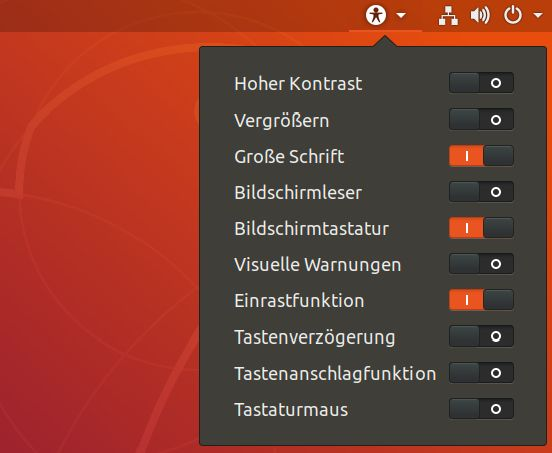 Das Betriebssystem Ubuntu Version 18.04 hat einen Schnellzugruff für Funktionen der Barrierefreiheit