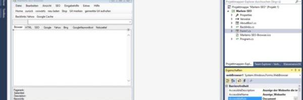 Ansicht der Entwicklungsumgebung Visual Studio 2015 mit Accessibility-Eigenschaften