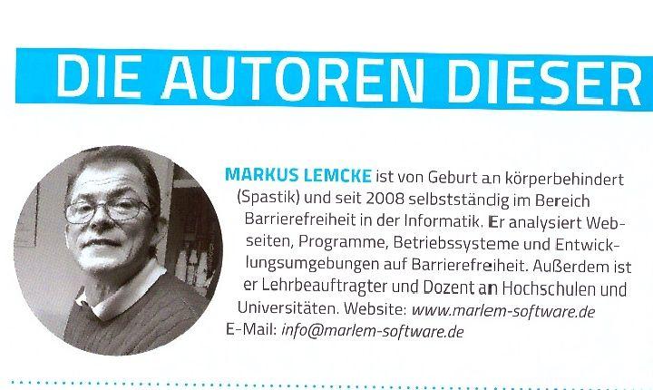 Markus Lemcke in der Autorenliste in der IT-Fachzeitschrift VisualStudio1