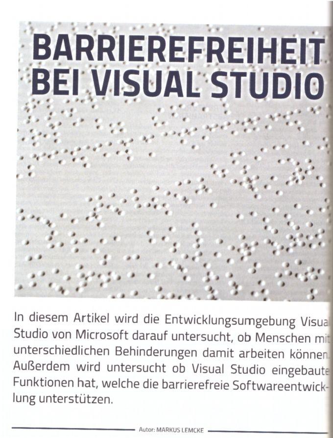Artikel in der Zeitschrift Visual Studio1 - Barrierefreiheit bei Visual Studio
