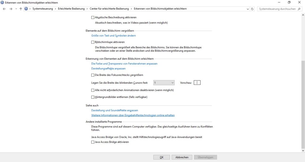 Einstellungsdialog in Windows 7,8 und 10 zum aktivieren der Java Access Bridge