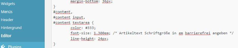CSS-Daatei in WordPress: Schriftgröße barrierefrei angeben