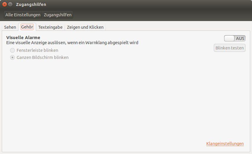 "Zugangshilfen beim Betriebssystem Linux - Ubuntu das Register ""Gehör"""