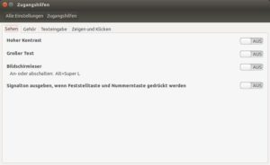 "Zugangshilfen beim Betriebssystem Linux - Ubuntu das Register ""Sehen"""