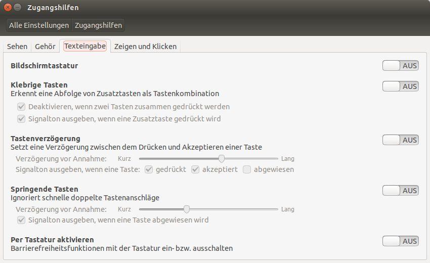 """Zugangshilfen beim Betriebssystem Linux - Ubuntu das Register """"Texteingabe"""""""