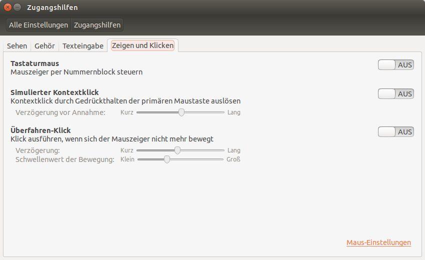"""Zugangshilfen beim Betriebssystem Linux - Ubuntu """"Zeigen und Klicken"""""""