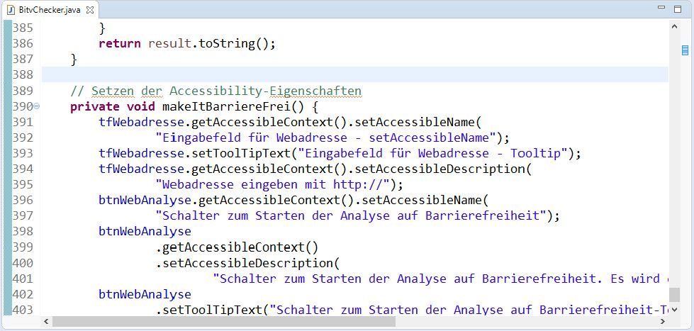 Das Bild zeigt Java-Code der zeigt wie eine Swing-Programmoberfläche für Screenreader zugänglich gemacht werden kann