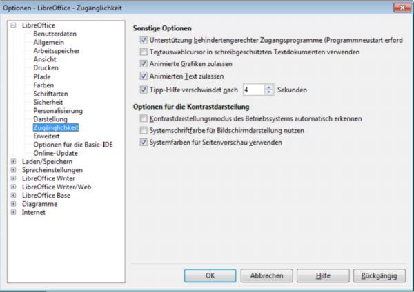 Einstellungsmöglichkeiten von LibreOffice zur barrierefreien Bedienung für Menschen mit Behinderung