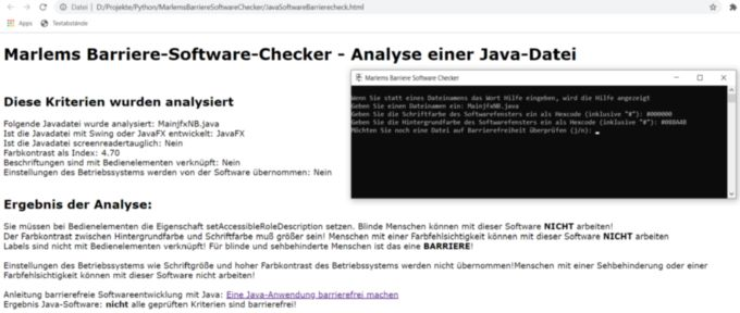 Marlems Barriere Software Checker als Konsolenanwendung und ein Analysebericht in HTML