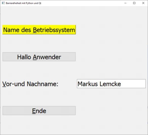 Demoprogramm: für blinde und sehbehinderte Menschen nutzbar, Betriebssystem Windows, Programmiersprache Python mit großer Schrift für Menschen mit Sehbehinderung